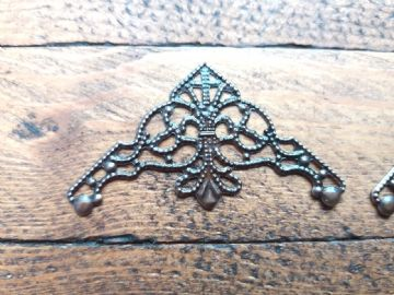 8 x Antique copper finish filigree corner 35x35mm Jewelery wooden box embellishment aged C114